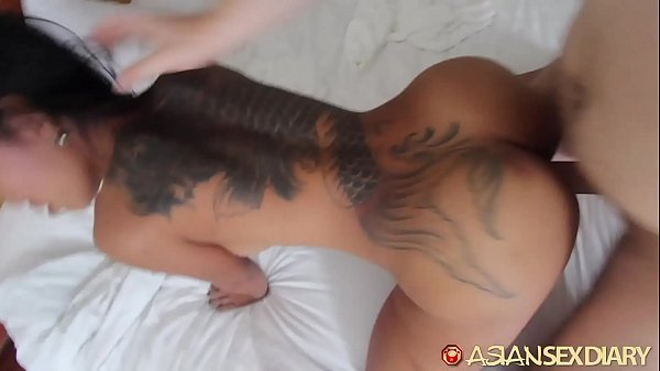 Asian Sex Diary – Slutty looking Asian gets fucked by big white cock