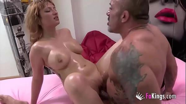 Busty babe Lucia Fernandez has hardcore sex with a walking muscle mountain