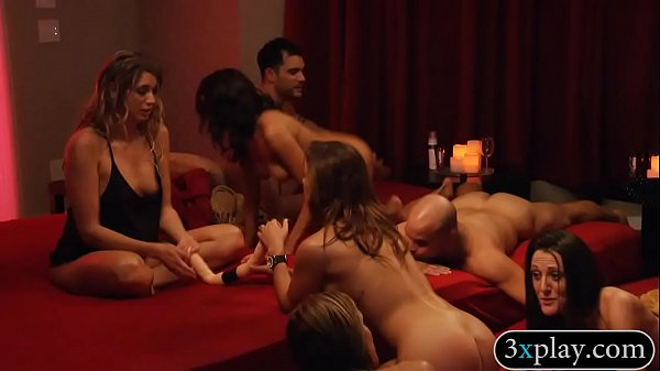 Couple swingers swap partners and group sex in red room
