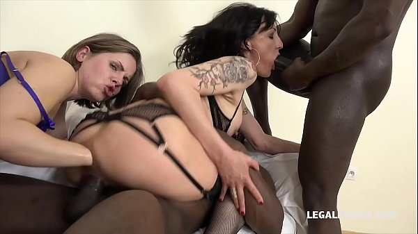 Interracial rough gangbang leaves Sasha Zima & Lyna Cypher's ass destroyed