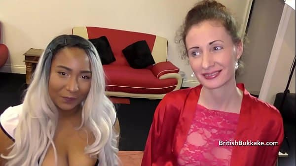Nervous mid 40's first bukkake with younger black lady