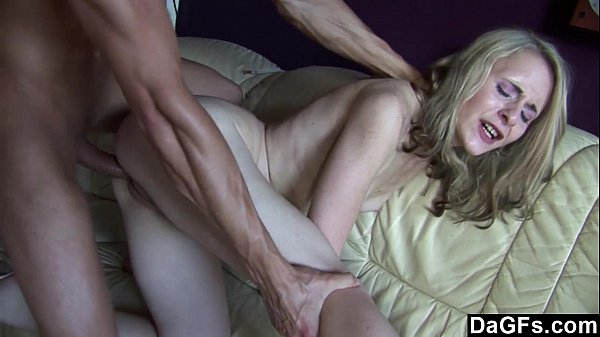 Skinny blonde gets fucked and jizzed