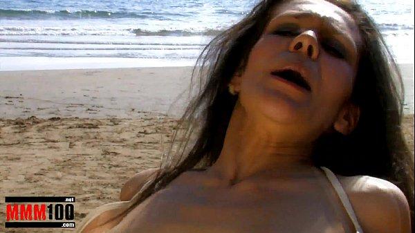 Spanish Pornstar Samia Duarte fucking on a public beach