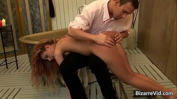 Super hot blond bitch gets butt spanked