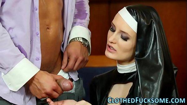 Dressed euro nun spermed